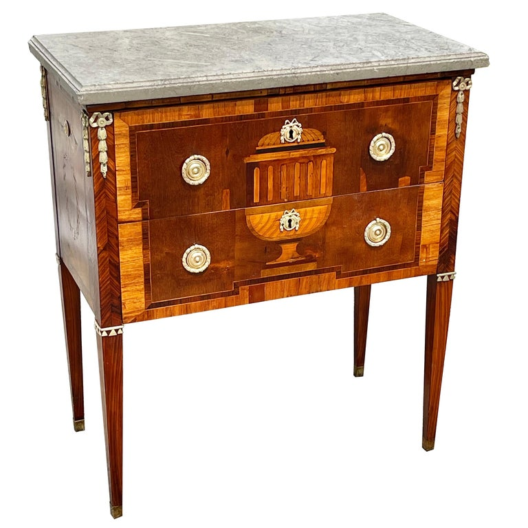 Early 19th Century Swedish Neoclassical Satinwood and Fruitwood Commode For Sale