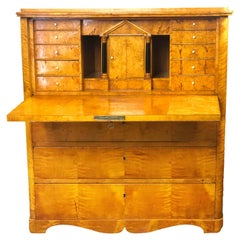 Early 19th Century Swedish Secretaire of Honey Colored Satin Birch