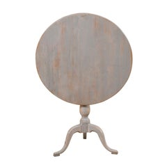 Early 19th Century Swedish Tilt-Top Painted Wood Round Bistro or Side Table