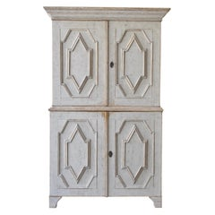 Early 19th Century Swedish Two Part Gray Baroque Cabinet with Carved Details