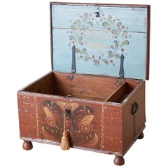 Early 19th Century Swiss Polychrome Blanket Chest Trunk