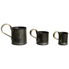 Early 19th Century Three Graduated Gill Measuring Cups Tin with Brass Handles