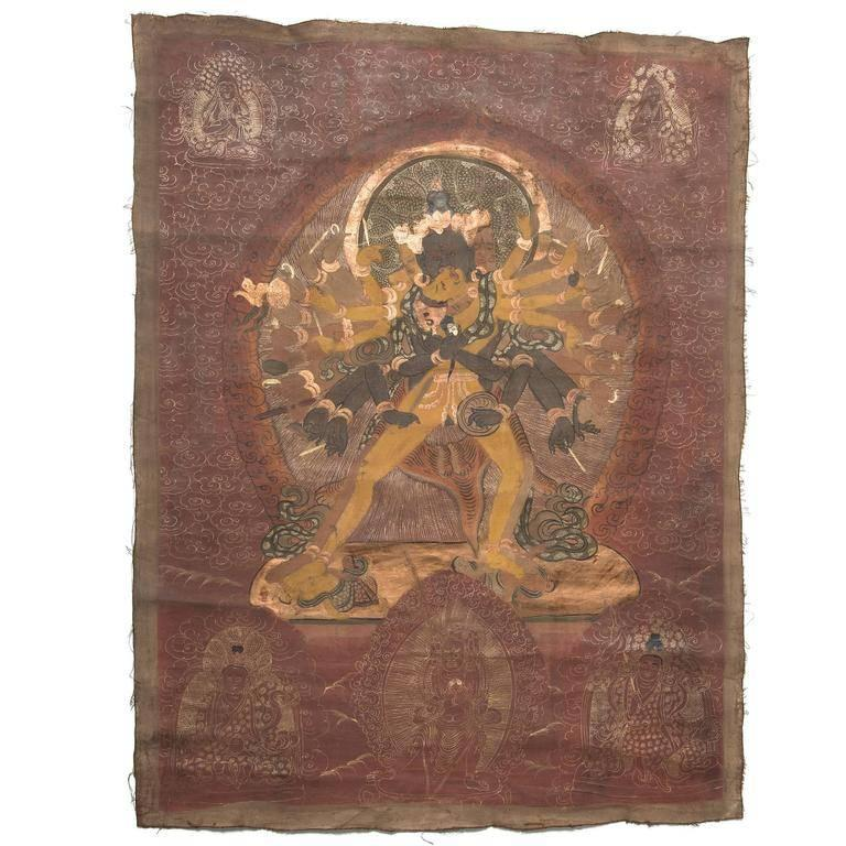 Early 19th Century Tibetan Thangka of Chakrasamvara