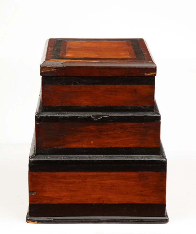 Early 19th Century, Unusual Biedermeier Three Compartment Box For Sale 5