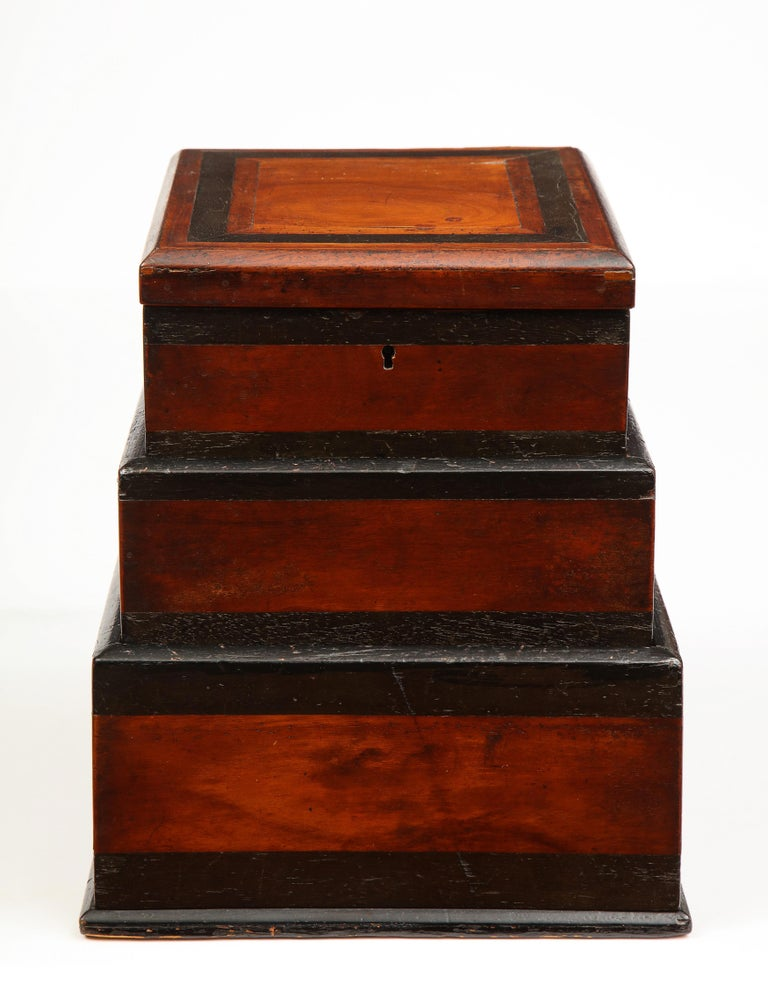 Early 19th century, unusual Biedermeier 3 compartment box.