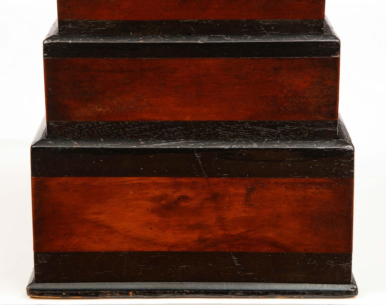 Wood Early 19th Century, Unusual Biedermeier Three Compartment Box For Sale
