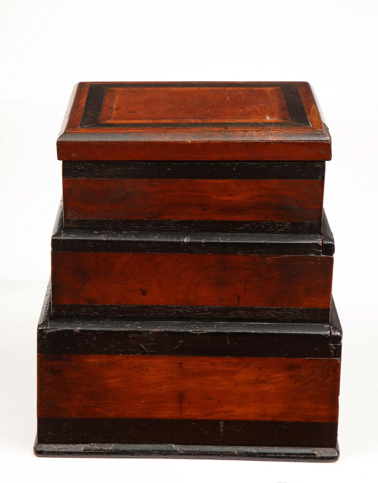 Early 19th Century, Unusual Biedermeier Three Compartment Box For Sale 1