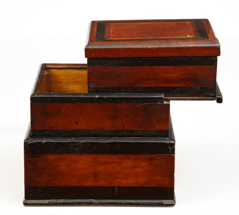 Early 19th Century, Unusual Biedermeier Three Compartment Box For Sale 2