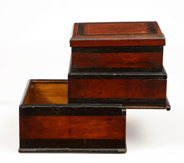 Early 19th Century, Unusual Biedermeier Three Compartment Box For Sale 3