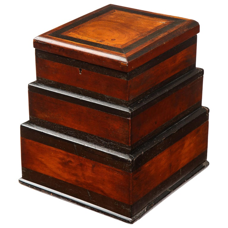 Early 19th Century, Unusual Biedermeier Three Compartment Box For Sale