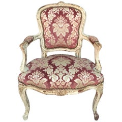 Early 19th Century Velor Fabric Louis XV Armchair with Original Patina