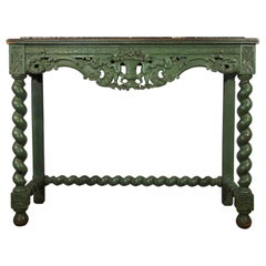 Early 19th Century Venetian Carved Painted Console with Green Marble Inset
