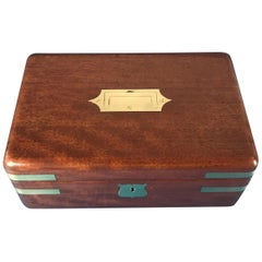 Early 19th Century, Victorian 1840 Brass Bound Solid Mahogany Campaign Box