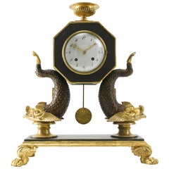 Early 19th Century Viennese Empire Carved Wood Mantel Clock