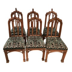 Early 19th Century Vintage Gothic Revival Dining Chairs, Set of 6