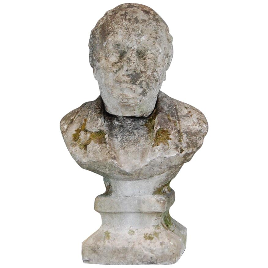 Early 19th Century Weathered Carved Stone Bust