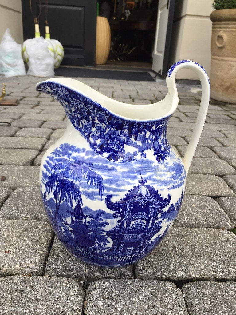Early 19th Century Wedgwood Blue and White Porcelain Pitcher, Embossed Mark For Sale 2