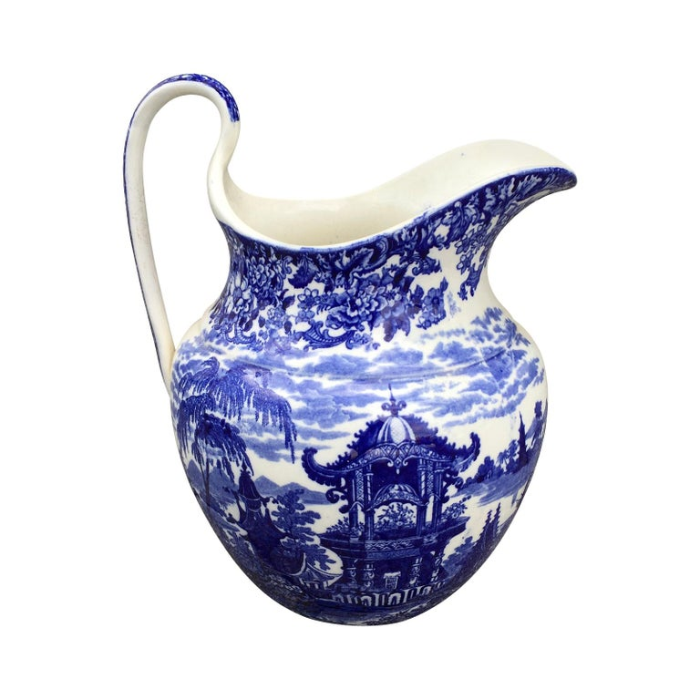 Early 19th Century Wedgwood Blue and White Porcelain Pitcher, Embossed Mark For Sale