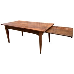 Early 19th Century Wide Cherry Farmhouse Table With Slide and Tapered legs