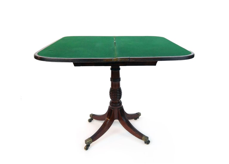 English Early 19th Century William iv Card Table with Ebony Inlay and Turned Pedestal For Sale