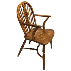 Early 19th Century Yew and Elm Windsor Armchair with Crinoline Stretcher