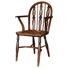 Early 19th Century Yew Wood Prior Low Hoop Back Windsor Armchair