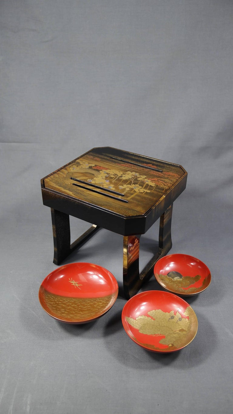 Maki-e, a combination of two Japanese words ? (Maki) and ?(E), meaning sprinkled picture, is a decoration technique used to apply on the lacquerware. It was developed in the Heian Period and flourished in the Edo Period. By using a variety of metal