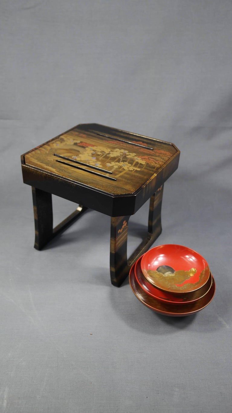 Japanese Early 19th Century, Pair of Sake Tables, Edo Period, Art of Japan For Sale