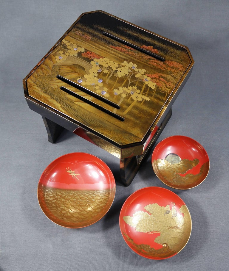 Lacquered Early 19th Century, Pair of Sake Tables, Edo Period, Art of Japan For Sale