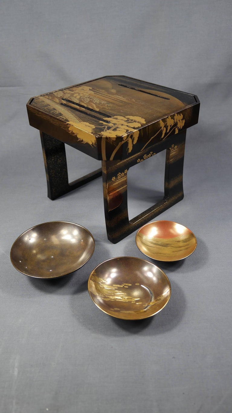 Wood Early 19th Century, Pair of Sake Tables, Edo Period, Art of Japan For Sale