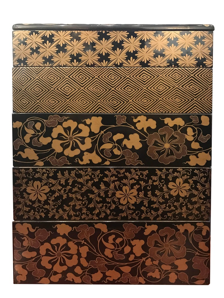 Japanese Early 19th Century, Bento Box with Arabesque and Cherry Blossom Design, Japan For Sale