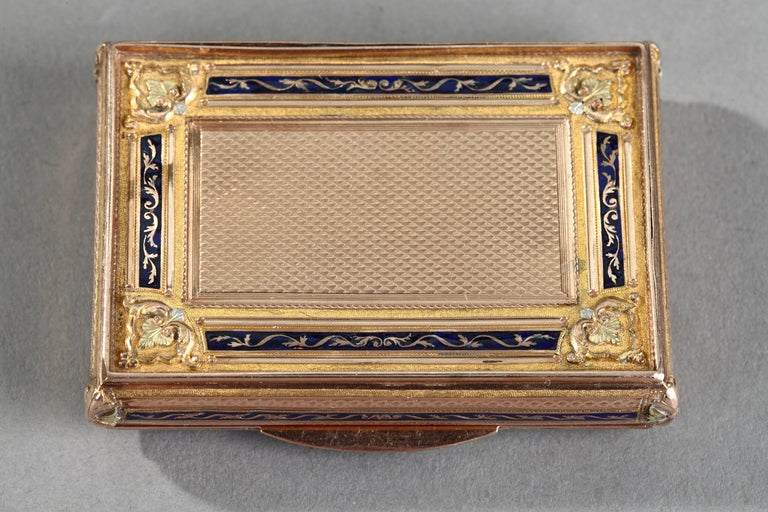 Empire Early 19th Century Gold and Enamel Box, Swiss Work For Sale
