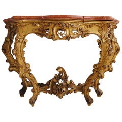 Early 19th Century Louis XV Style Console in Gilded Wood with Marble Top