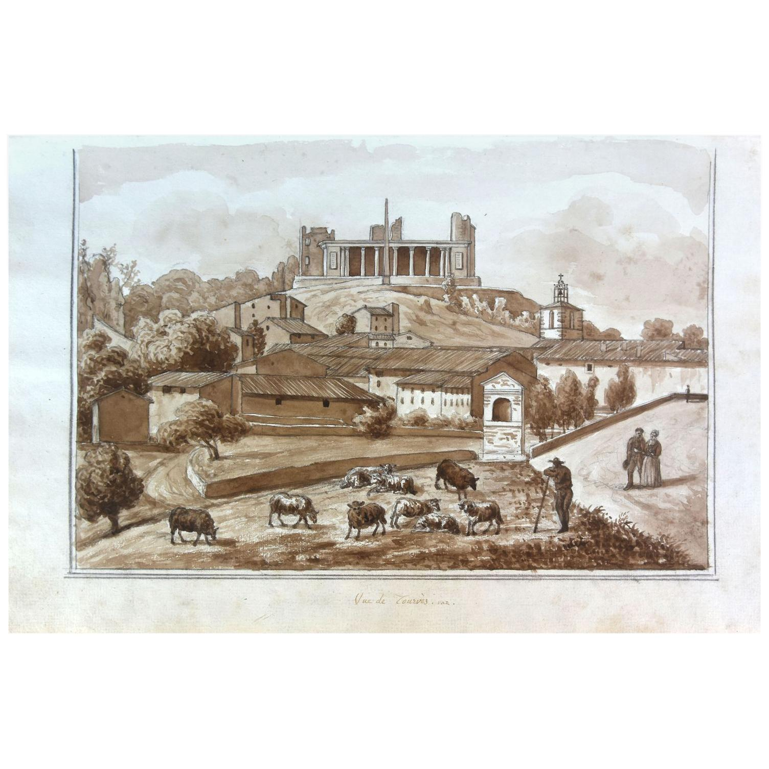 View of Tourves Watercolor Drawing on Paper from the 18th Century