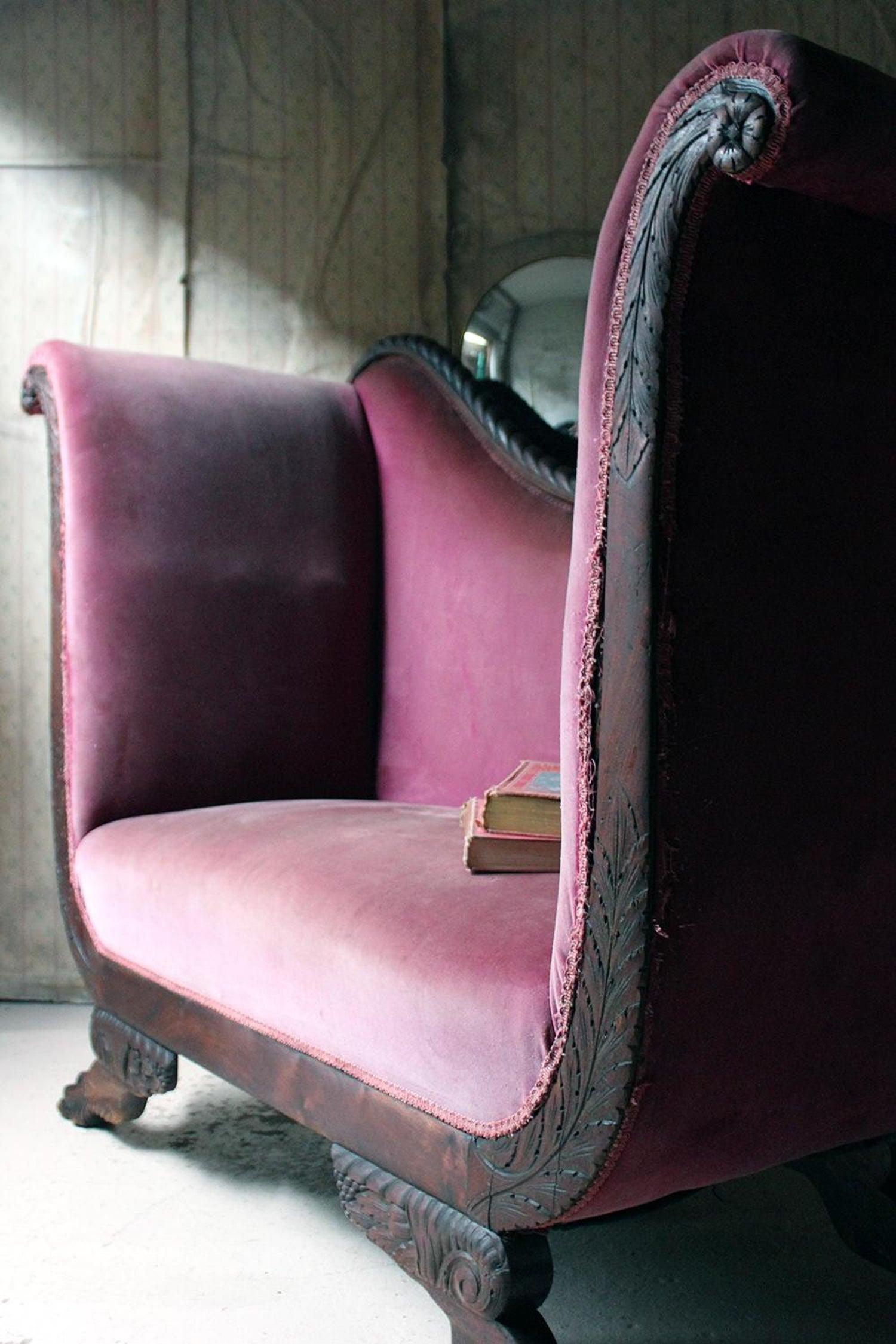 Early 19th Century American Empire High Arm Sofa Circa 1815