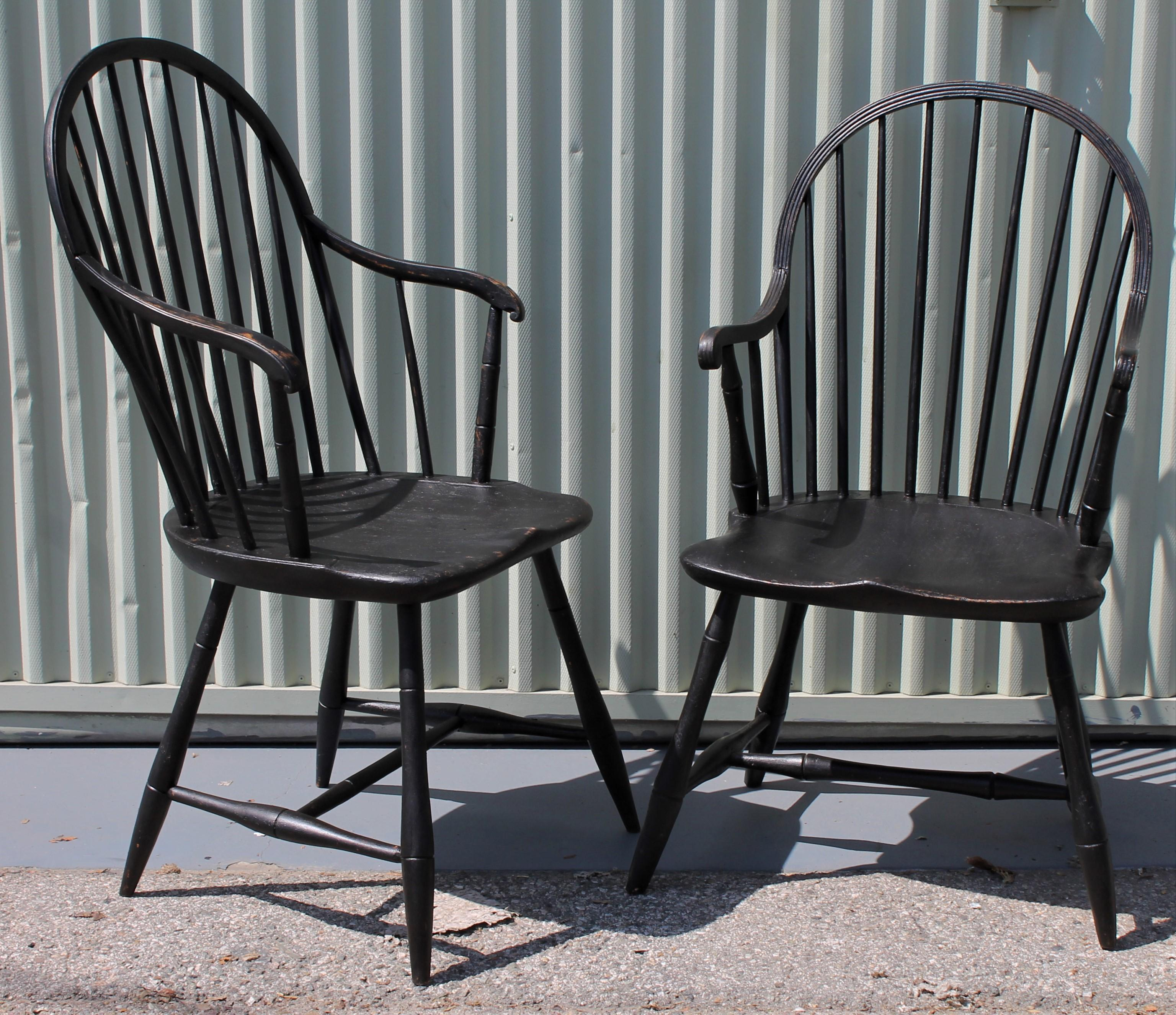 Early 19th Century Black Painted Windsor Armchairs