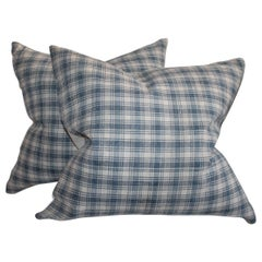 Early 19th Century Blue and White Homespun Linen Pillows, Pair