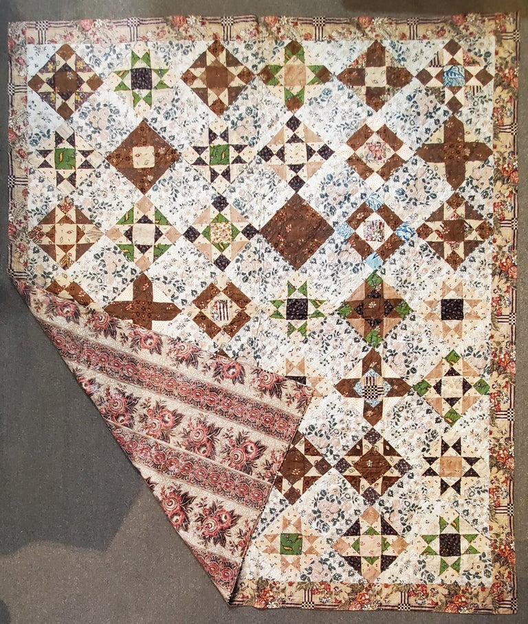 Early 19th century Chintz stars quilt from Lancaster County, Pennsylvania. The condition of this quilt is pristine.