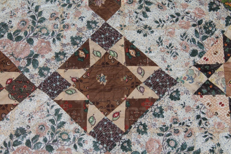 Hand-Crafted Early 19th Century Chintz Stars from Lancaster, Pennsylvania For Sale