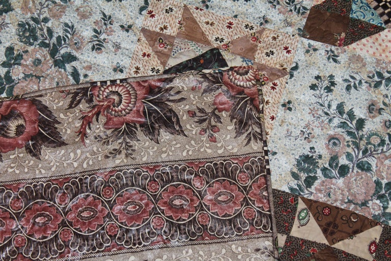 Cotton Early 19th Century Chintz Stars from Lancaster, Pennsylvania For Sale
