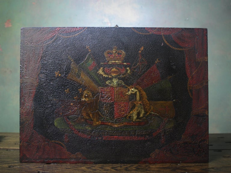 Hand-Painted Coach Panel the Order of the Garter Royal Coat of Arms Armorial For Sale