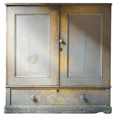Early 19thC Estate Made Painted Pine Cupboard, c.1810
