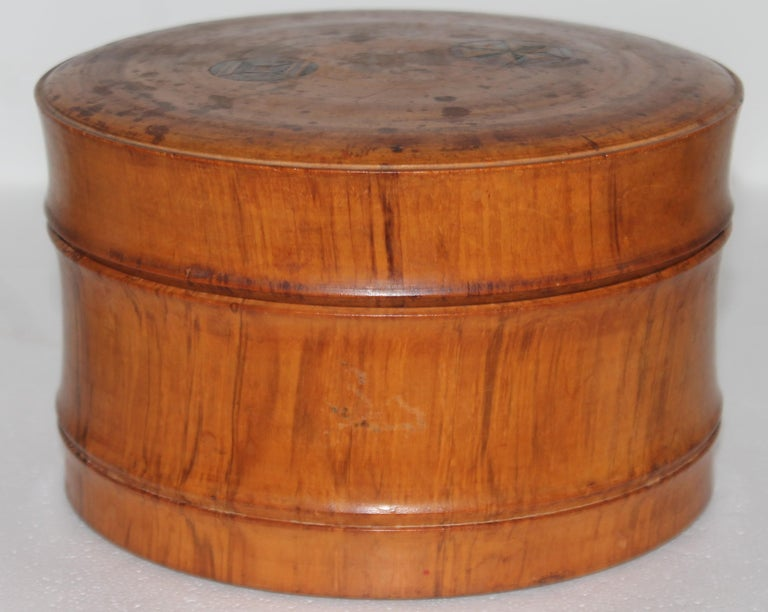 Country Early 19Thc Hand Carved Wood Canister For Sale
