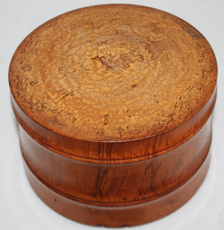 Early 19Thc Hand Carved Wood Canister In Good Condition For Sale In Los Angeles, CA