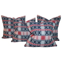 Early 19thc Hand  Woven Red & Blue Coverlet Pillows-Set of Four