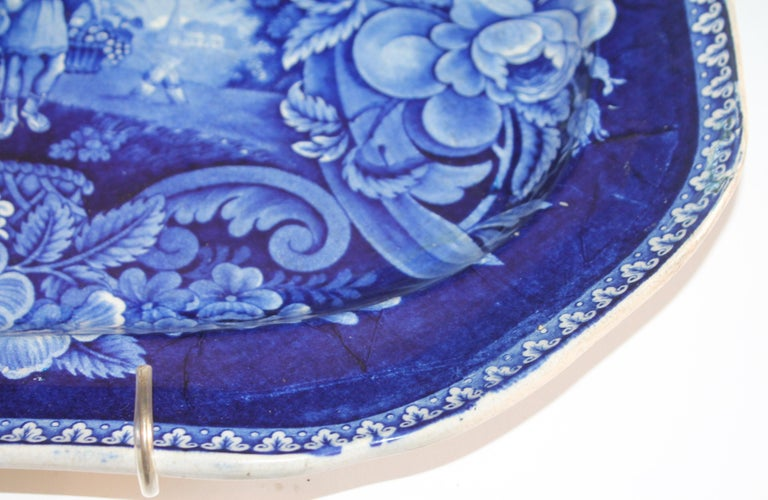 Early 19th Century Historical Blue Pottery Platter In Good Condition For Sale In Los Angeles, CA