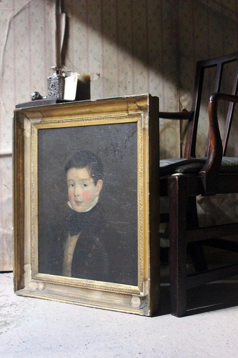 Early 19th Century Irish School Oil on Board of a Young Boy, circa 1810-1825 7