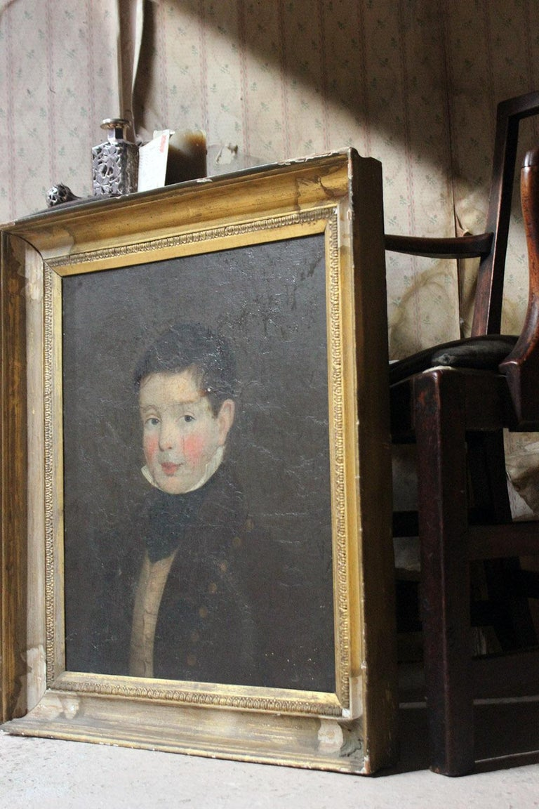 Early 19th Century Irish School Oil on Board of a Young Boy, circa 1810-1825 8