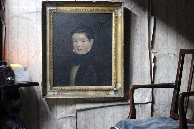 Early 19th Century Irish School Oil on Board of a Young Boy, circa 1810-1825 12