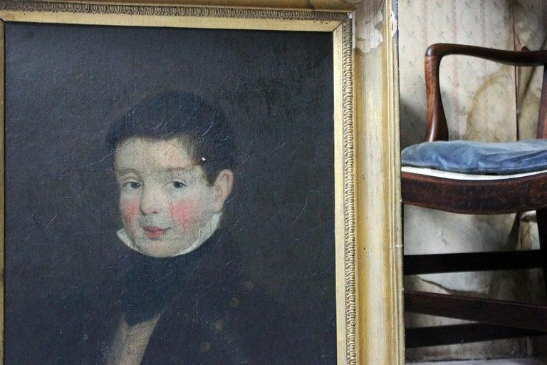 Regency Early 19th Century Irish School Oil on Board of a Young Boy, circa 1810-1825